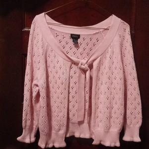 Evie Pink Crop Open Tie Cardigan Sweater!